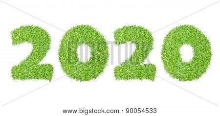 2020, New Year Made From The Green Grass, Isolated On White Can Use As Abstract Background