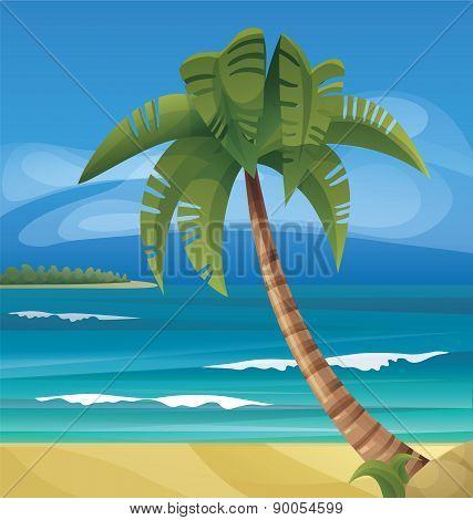 Tropic ocean island lanscape