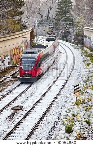 Snow Covered Rails In The City