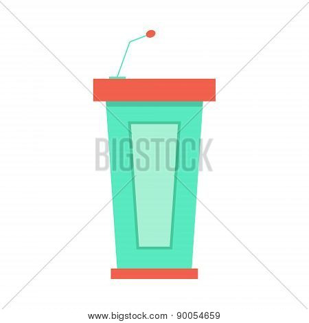 green trapezoidal tribune icon with microphone