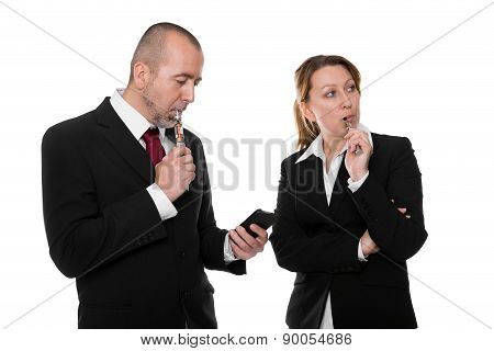Business People With E-cigarette And smartphone