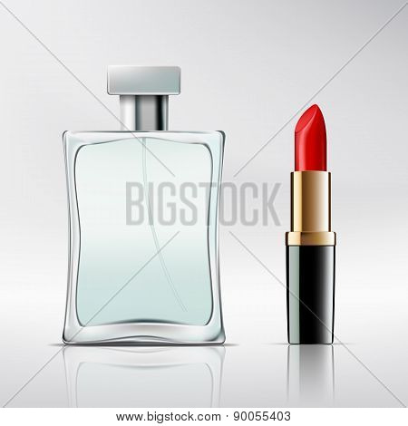 Bottle Of Perfume And Lipstick.