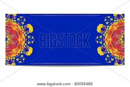 Invitation orr greeteng card with half circle ethnic ornament on blue background