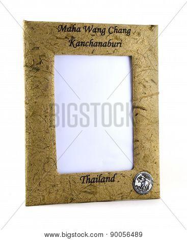 Photo frame made of elephant shit