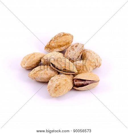 The Pistachio nuts isolated on white background