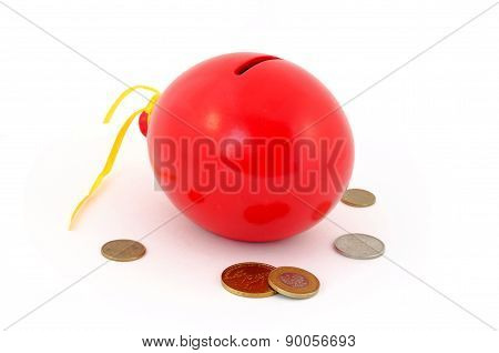 Red balloon piggy Bank with coins