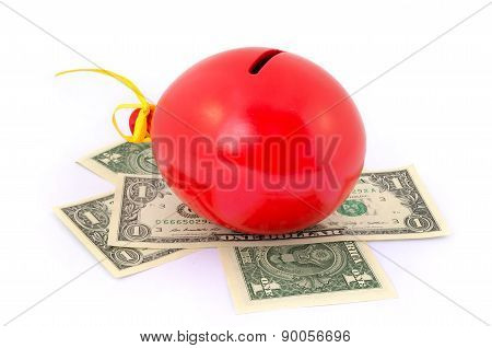 Red balloon piggy Bank with one dollar