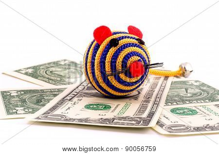 Toy mouse on one dollar bacground