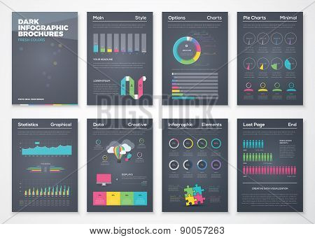 Colorful flat infographic brochures with black background
