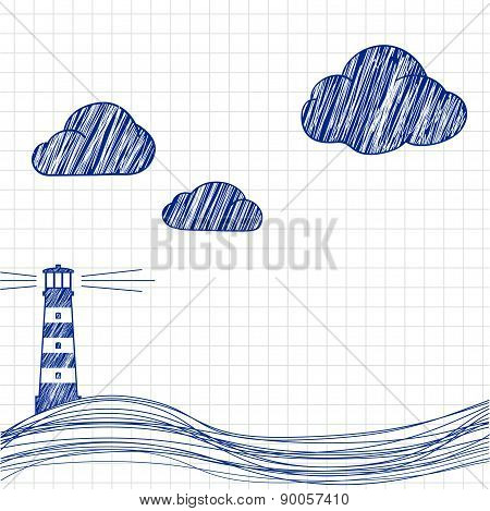The Lighthouse And The Sea Are Drawn On Paper.