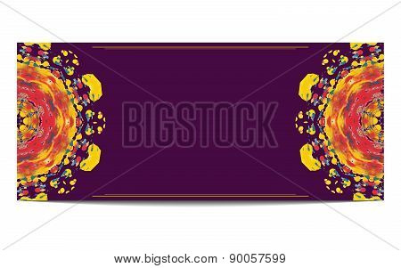 Invitation orr greeteng card with half circle ethnic ornament on purple background