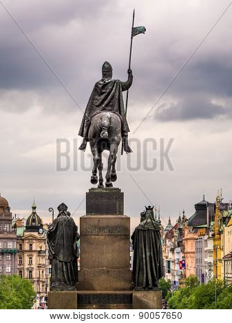 PRAQUE, CHECH REPUBLIC - MAY 1 2015: Venceslas square with Venceslas statue, Praque, Chech Republic