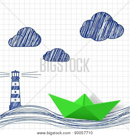 Paper Boat And Painted Lighthouse.