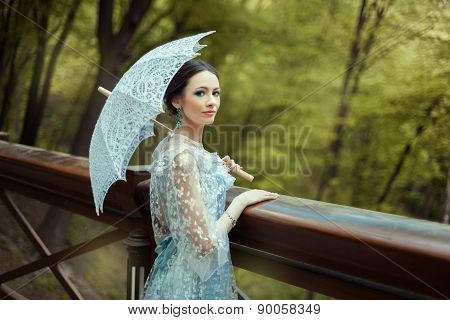 Girl In A Blue Old-fashioned Dress.