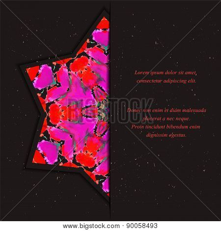 Template of card or flyer  with half star  ornament on the dark background
