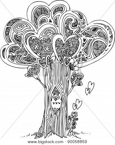 Tree of love with owl
