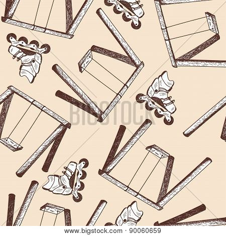 Swing And Rollers Seamless Doodle Pattern