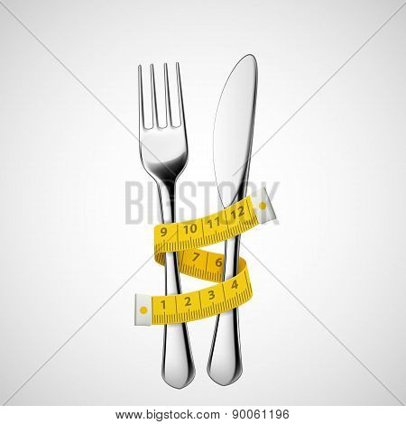 Fork And Knife Tied Measuring Tape.