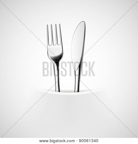 Fork And Knife In A Napkin.