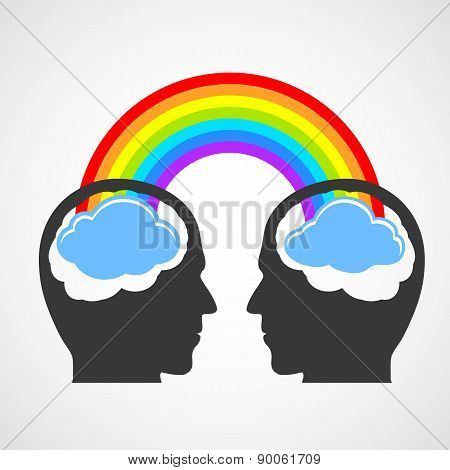 Silhouette Of A Mans Head With A Rainbow And Clouds.