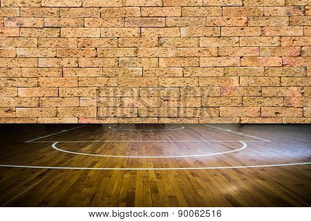 Wooden Floor Basketball Court With Red Brick Wall Texture Background