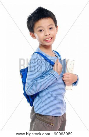 Nice child holding a book with bag