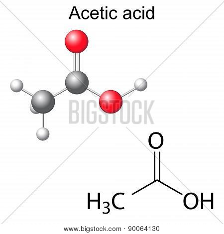 Structural Chemical Formula And Model Of Acetic Acid