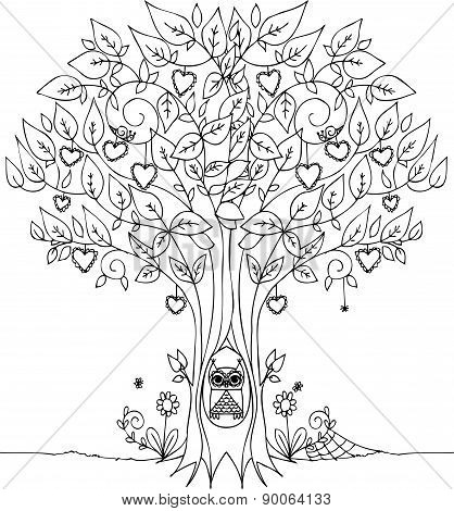 Love tree with owl