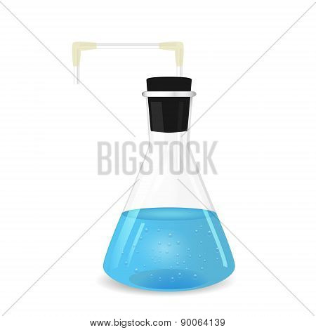 Conical Flask With Tube And Blue Solution