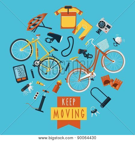 Cycling concept pictograms composition circle print
