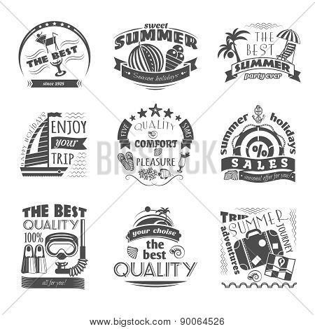 Summer holiday vacation labels set black