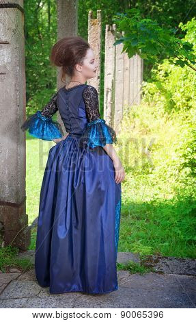 Beautiful Young  Woman In Blue Medieval Dress