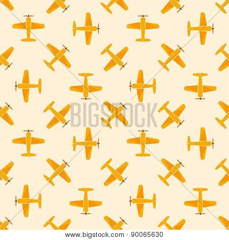 Airplane vector yellow seamless patten