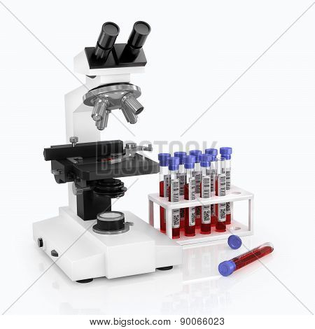 Microscopy And Analysis On A White Background.