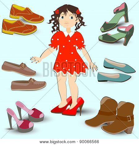 Little Girl Trying On Big Shoes, A Lot Of Different Footwear