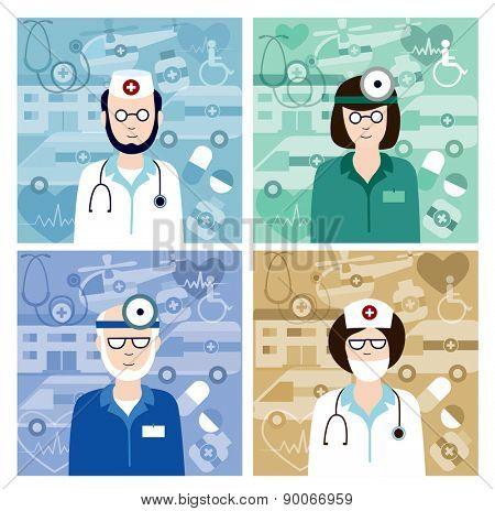 set of medical avatars (flat concept, vector illustration)