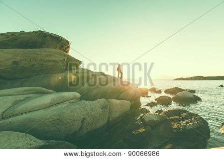 Beautiful rocky coastline in Greece