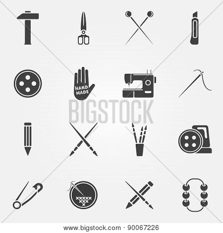 Hand made vector icons set