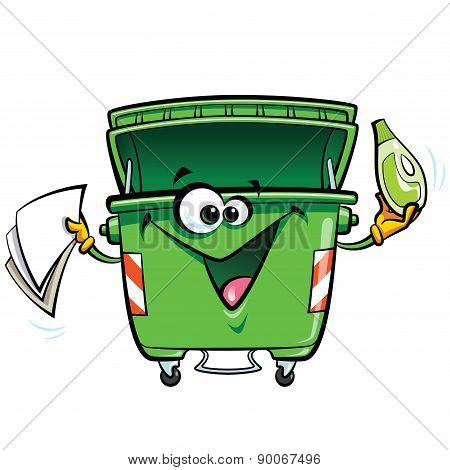 Happy Smiling Face Cartoon Green Trash Bin Character With Gabadge
