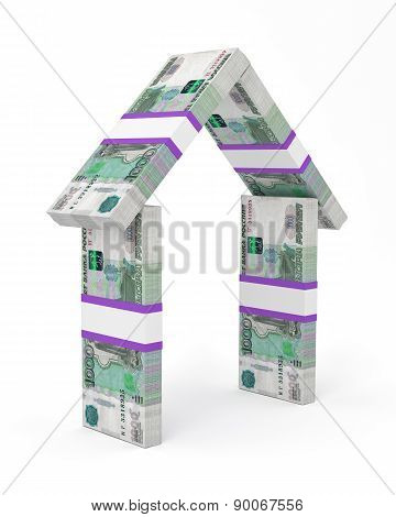 House made of Russian currency banknotes