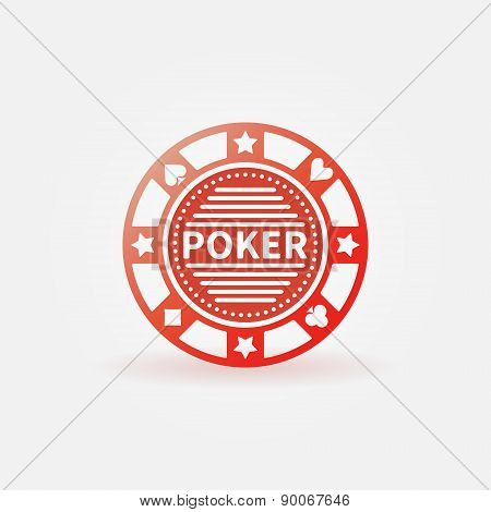 Poker chip red vector icon