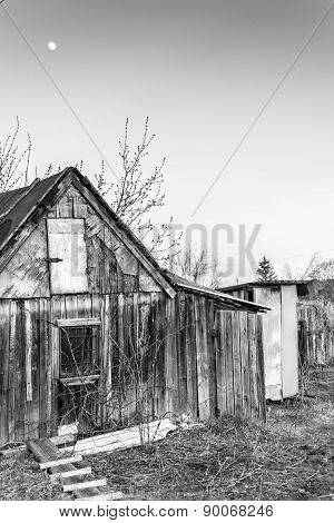 Wooden Village Shed And Moonlight