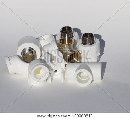 Various Fittings On A White Background