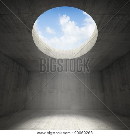 Abstract Empty Dark Concrete 3D Interior