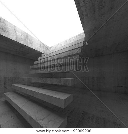 3D Interior Background With Flying Stairway