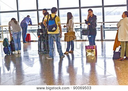 Passenger In Madrids Airport Barajas Are Waiting For The Delayed Flight