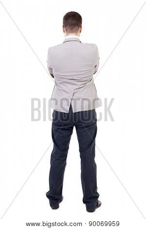 back view of Business man  looks.  Rear view people collection.  backside view of person.  Isolated over white background. The guy put his hands on his chest.