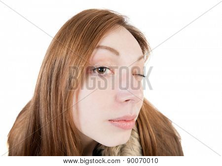 Portrait of a woman peep. funny picture. Wide-angle. Isolated over white background