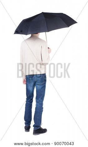 young man in in a white knit sweater under an umbrella. Rear view people collection.  backside view of person.  Isolated over white background. Girl in a short dress hiding under an umbrella