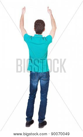 Back view of  man in shirt shows thumbs up.   Rear view people collection.  backside view of person.  Isolated over white background. Thin curly man approves.